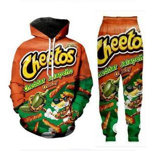 Neue Männer / Womens Cheetos lustige 3D drucken Mode Trainingsanzüge Hip Hop Pants + Hoodies MH091