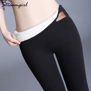 Streamgirl 8% Spandex Inverno a vita alta Leggings donne più di formato Fleece Pants 6XL caldo inverno leggings per Velvet Donne Pantaloni