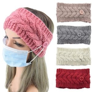 Masks knitted Hair Band Button Anti-Tight Face Mask Headband Twist Wool Bow Head Sport Ear Protector Headbands Women Party Favor DHB2814