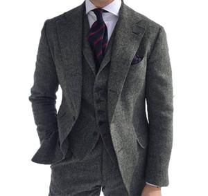 2021 Yeni Klas Düğün Smokin Herringbone Yün Gri Erkekler Resmi Iş Damat Için Suits 3 Parça Tweed Adam Set Ceket