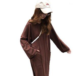 Kulazopper outono moda feminina oversize o-pescoço vestido feminino vestido com capuz Sweatershirt senhora cor sólida pullover kw0261