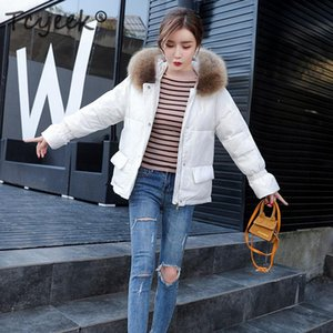 Tcyeek Winter Down Coat Female Brand Clothes 2020 Warm Duck Down Jacket Women Fashion Parka Raccoon Fur Coats Hiver LW1698