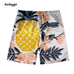 Männer Shorts 2021 Sommerstrand Ananas und Kokosnuss-Palm-Druckmänner Schnelle Trockenschwimmstämme Training Laufzeit Bermudas1
