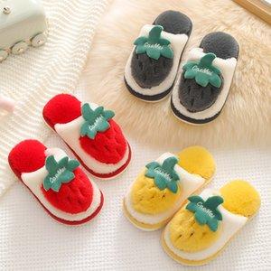 Kış Çilek Terlik Çocuk Toddler Kız Çevirme Flop Bebek Erkek Kürk Slaytlar Pamuk Kapalı Ayakkabı Sıcak Kabarık Ev Çocuk Slip C0119