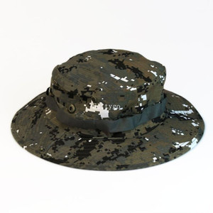 Wholesale-5X Hot Womens Mens Unisex New Cool Camo Camouflage Boonie Cap Sun Bucket Brim Bush Army Fishing Hiking A2 Hunting Hat1