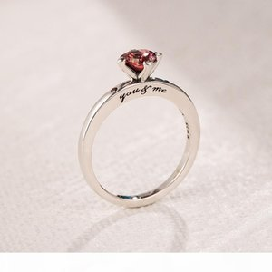 K Red Cz Diamond Heart Wedding Ring Original Box For Pandora 925 Sterling Silver Sparkling Red Heart Ring With Retail Box