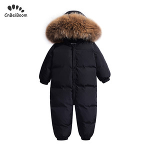 Winter warm baby rompers Jumpsuit Children duck down overalls Snowsuit toddler kids boys girls fur hooded romper costume clothes Y1113
