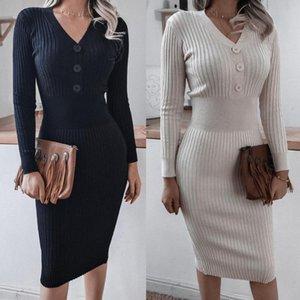 Sonbahar ve Kış Rahat Düğme V Yaka Uzun Kollu Örme Kazak Elbise Kadınlar Seksi Düz Renk Bandaj Zarif Vestidos