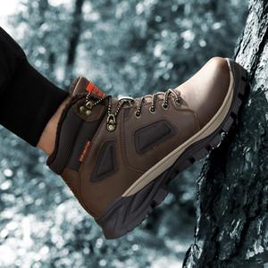 Зимние кожаные ботильоны для лодыжки мужчины повседневные туфли на открытом воздухе водонепроницаемая работа инструменты мужские походные ботинки кроссовки теплые военные снежные ботинки 201203