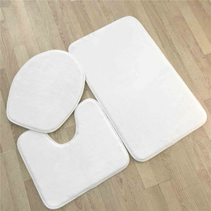 3Pcs Sublimation Bathroom Sets Blank Bath Mats Flannel Toilet Seat Pads Thermal Transfer White Covers Free Shipping A12