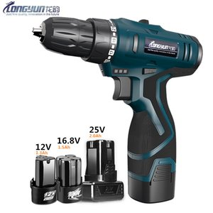 Longyun 12v 16.8v 25v cordless screwdriver with spare lithium ion Battery Electric Drill Home Multifunction Electric Screwdriver Y200321