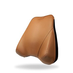 Car Cushion Back Seat Support Lumbar Pillow Breathable First Layer Cowhide Real Leather Memory Foam Car Waist Pillow