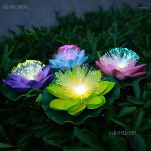 Fleurs décoratives Couronnes 1 morceaux de fibre optique artificielle de la fibre optique imperméable à la lumière de la feuille de lâche lotus feuille de couleur de mariage
