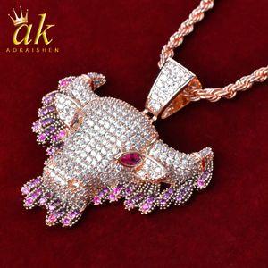 Голова для коровья животных с розовым капельным роком ожерелье для мужчин розовый золотой цвет материал медный кубические цирконы хип-хоп ювелирная улица с веревкой