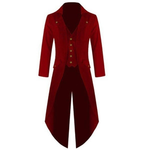 Plus Size Men's Coat Steampunk Retro Tuxedo Gentleman Long Coat Suit Classic Club Prom Autumn and Winter Trench