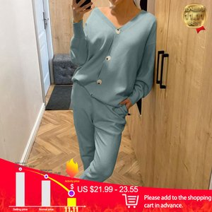 Knitted Sweater Sets Autumn Women's Suits Casual Knit Female Track Suit V-Neck Sweaters Long Pants Elegant Ladies Streetwear Set A1112