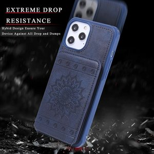 Wallet Leather Phone Case For iPhone 6 6s 7 8 Plus X Xs Xr XsMax 11 12 Pro max Chinese style embossed sunflower For 12 mini with card slot