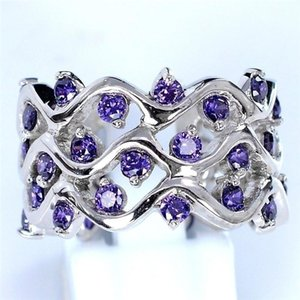 Fashion Purple CZ Stone Ring Hollow Wave Shape Vine Design Big Rings For Women Engagement Jewelry Party Gift L5K773