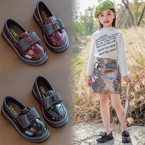 2021 Primavera New Fashion Girls Scarpe Children Bow Leathers Scarpe Style British Style Princess Comfort Casual Bean