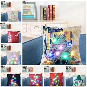 LED Pillow Case Cover Luminous Linen Pillows Covers Creative Light Cushion Cover Christmas Pillow Cases Home Sofa Car Decorations DHC4331