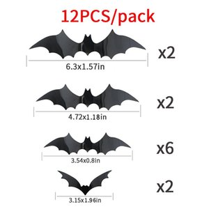 12 Pieces Of Halloween Bat Stickers Diy Pvc 3d Decoration Halloween Party Scary Black Bat Wall Stickers Home Window Wallpaper