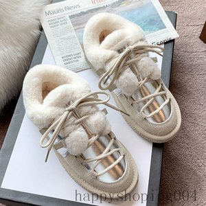 Lace-up Furry Women's Boots Winter Warm Shoes Thick Plush Shoes Non Slip Platform Ankle Boots Slip-on Snow Mujer