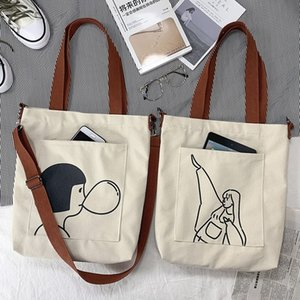 Designer-2020 New Style Messenger Bag Female Canvas Ins Cute Large Capacity Student Cloth School Bag Female Messenger Shopping Bag
