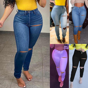 Ripped Jeans For Women High Waist Thick Vintage Split Hem Holes Bell Bottom Jean Denim Pants Trousers