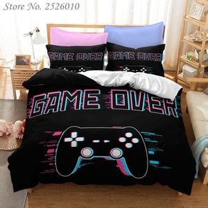Gamer Controller Print Bedding Set Game Over 3D Character Duvet Cover Set with Pillowcase Twin Full Queen King Bedclothes