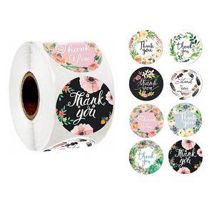 Blumenmuster danke Aufkleber kreisförmige multi floral design handgemachte geschenk aufkleber hochzeit geburtstag dekor label klebrige papier neu 1 2jk l2