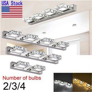 USA Stock Crystal LED Mirror Light AC110-240V 2-4 heads LED wall light wall sconce lighting Indoor Modern Bathroom Cosmetic led lights