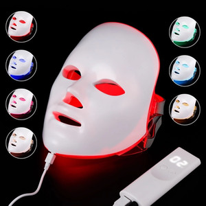 Newest 7 Color LED light Therapy face Beauty Machine LED Facial Neck Mask With Microcurrent for skin whitening device UPS free shipment