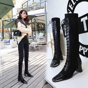 Women Motorcycle Boots Square Toe Chunky Heel Riding Boots Shoes Female Lace Up Knee High Black