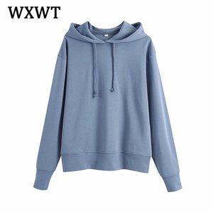 WXWT Femmes Solid Sweats Sweats Sweatshirts Printemps 2021 Nouveau surdimensionné Trunks Femmes Pocket Chic Jacket à capuche BB3124