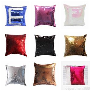 Sublimation Blank Mermaid Sequins Pillow Case DIY Cushion Throw Magic Pillows Cover Sofa Pillowcases DHC3472
