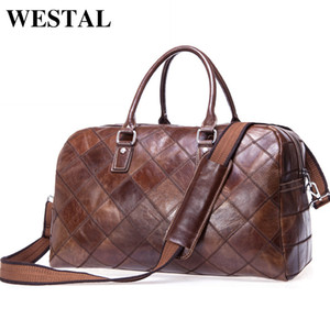 WESTAL Men Travel Bag Genuine Leather Men Hand Luggage Travel Duffle Bag Casual Weekend Bag Big Carry On Luggage Suitcase 8885