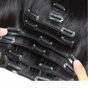 Peruvian Remy Hair Clip in Human Hair Extensions 7PCS Set Natural virgin thick clip in hair extension