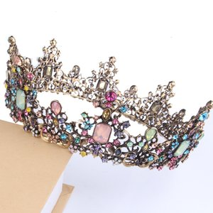 Retro Golden Crystal Flower Tiaras Colorful Rhinestone Queen Crowns Wedding Hair Accessories For Women Party Jewelry