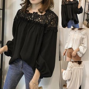 2020 Loose Sexy Off Shoulder Tops Blouses Women Shirts Ladies Puff Sleeve Casual Elegant Black White Lace Blouses