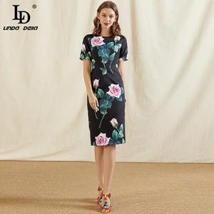Ld linda della moda pista di moda abito estivo donne o-collo manica corta rosa fiore stampa nero sottile vintage signore abiti midi abiti