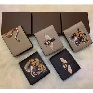 Mit Geschenkbox Hohe Qualität Männer Tier Kurze Brieftasche Leder Schwarz Schlange Tiger Biene Geldbörsen Frauen Lange Stil Geldbörse Wallet Karteninhaber