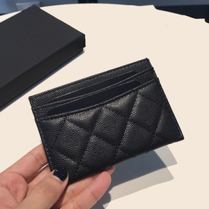Porte-carte de crédit Noir Caviar Véritable Cuir Véritable Femme Porte-monnaie Porte-monnaie Porte-monnaie Haute Qualité Célèbres Porte Monnaie de Luxe avec Boîte