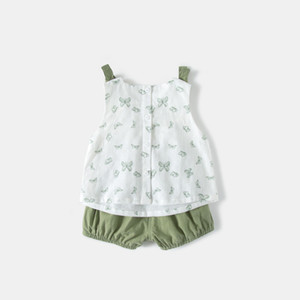 Baby summer suit girl 2020 new Korean version 1-3 years old baby fashion clothes suspender two piece summer suit