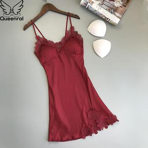Queenral Kadınlar Nightgowns Yaz Elbise Sleepshirts Saten Gece Elbise Kadın Seksi Nightgowns Pijama Göğüs Pedleri Homewear