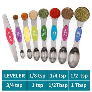 8 Pieces Magnetic Sucker Double Headed Measuring Spoon Stainless Steel Measuring Spoon Multicolor Measuring Cup Set for Bakery