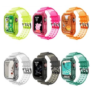 Fashion Colorful Watch Band with Protector Case for Apple Watch Series 6 SE 1 2 3 4 5 Silicone Straps for Iwatch 38 40 42 44mm Sports
