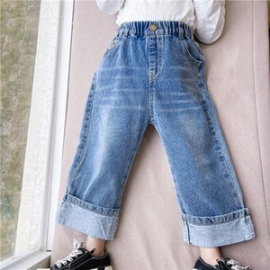 Wholesale 2021 New Korean Style Spring Girls Jeans Solid Color Elastic Waist Straight Wide Leg Denim Pants Kids Clothes E3030