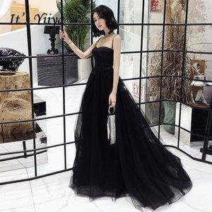 Es ist yiiya Abendkleid Spaghemdpap trägerlosen Zug schwarzem formalem Kleid Elegante Spitze Falten lang Partykleider E0851