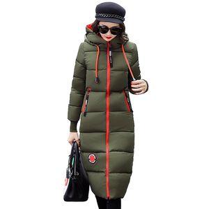 Largas parkas para las mujeres 2021 invernal de algodón de algodón topes con capucha tibia gruesa femenino delgado algodón acolchado abrigos ioqrcjv n258
