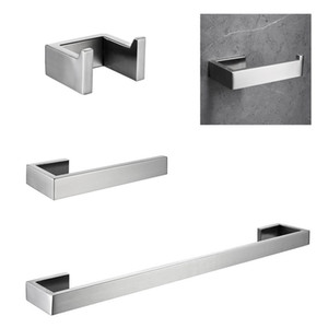 Bathroom Hardware Set 4-Piece Bathroom Accessories Set Stainless Steel Wall Mount Ship From Local LJ201211